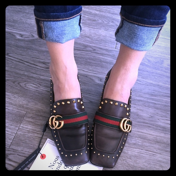 1d9ec22eff7 Gucci Shoes - Gucci Monogram GG Studded Peyton Loafers